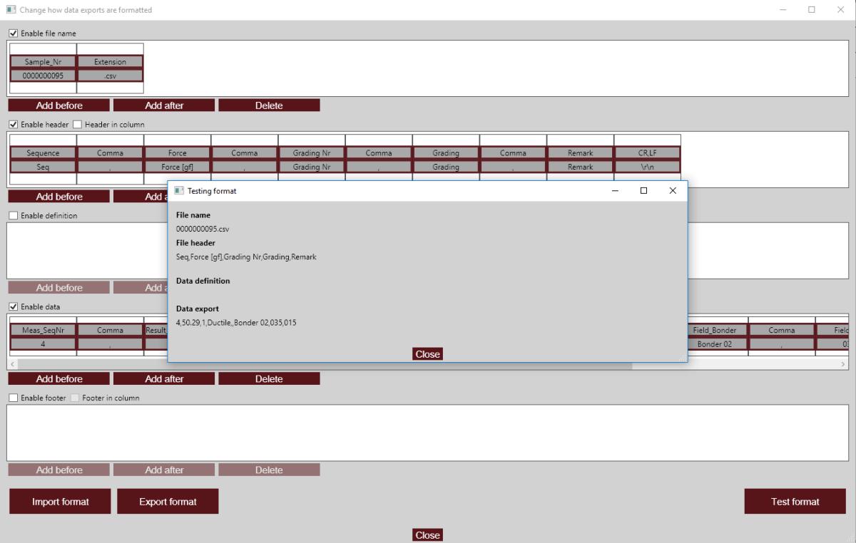 Data export editor