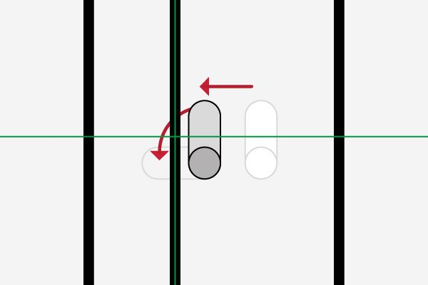 Hook driven to corrected position